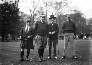 President Harding's golfing foursome at the Congressional Golf Club near Washington D.C. Participating were (left to right) Sir Harry Lauder, Scottish vaudeville star; President Harding; the president's personal secretary George Christian Jr.; and Ed McLean, publisher of the Washington Post. (Photo Courtesy of the Ohio History Connection)
