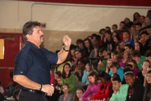 Wayne Campbell, founder of Tyler's Light drug education and prevention program, talks to Grant Middle School students on Monday, Feb. 1, 2016.