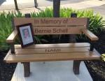 Park bench dedicated in memory of Bernie Schell.