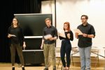 Members of the campus theatre community, (L-R) Hannah Fuller, Chris Wiley, Alex Kauser, and Michael Cochran, take direction from professional playwright Stephen Cedars of Theater Masters during read through of original works written by Ohio State Marion creative writing students.