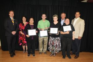 Pictured (L to R): Event Sponsors Chad Snyder (Snyder Funeral Homes), and Tammy Millisor (Kingston); Ednita Vaflor, Fred Malone (Pearl Roberts Award recipient), Judy Walker, County Commissioner Ken Stiverson, David Schaber, and Mayor Scott Schertzer. Not pictured: nominee Charlotte Rowe