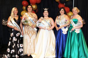 (L – R): 3rd Runner- Ashley Keener, 1st Runner-Up Annslea Schaber, Miss Marion Popcorn 2017 Kaylee Wallace, 2nd Runner-Up Emily Christman, and 4th Runner-Up Ashley Keener.