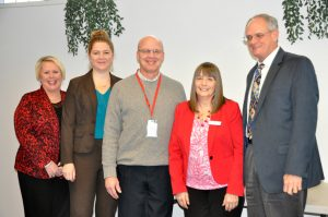 left to right: Tami Galloway, MTC Workforce Solutions; Shannon Niedzwicki, Director of Career Services; Erich Hetzel, Apprenticeship Ohio; Debbie Stark, Dean of Business, Technologies and Public Service; and Dr. Bob Haas, Chief Strategy Officer.