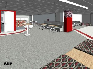 An artist rendering of multi-use student work space that will be carved from Morrill Hall's 3rd Floor remodeling project that will take place Summer 2018.