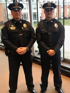 Lt. Jamie Ralston (left) represented the Marion Police Department at the graduation ceremony of Officer Dylan Kelley (right).